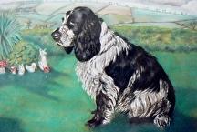 Pastel painting of loving spaniel by Soraya