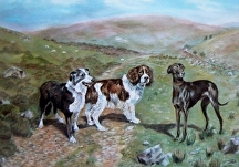 Pastel of dogs on the moors by Soraya