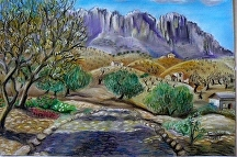 Pastel painting of El Torcal in Andalucia by Soraya
