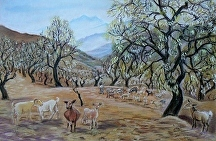 Pastel of goats and almond trees by Soraya