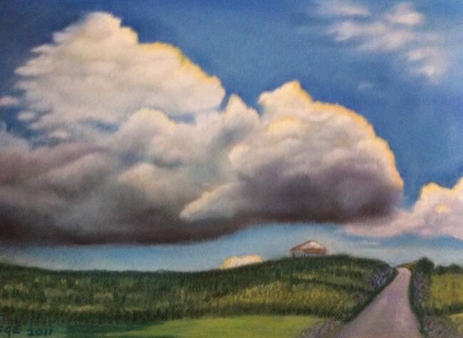Clouds over horizon, pastel by Soraya Gwynne-Evans
