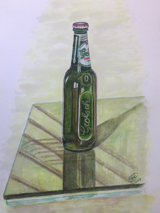 Grolsch bottle drawing, pencil on paper