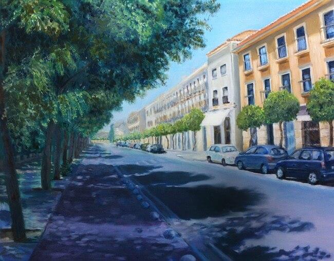 Siesta time in Córdoba, oil on canvas by Soraya Gwynne-Evans