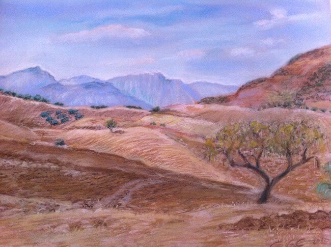 Hills of Andalusia pastel by Soraya Gwynne-Evans