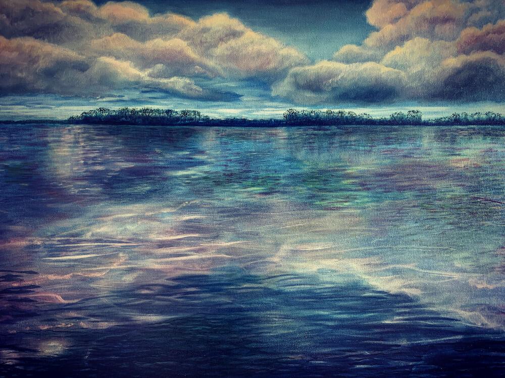 Oil painting of water by Soraya Gwynne-Evans