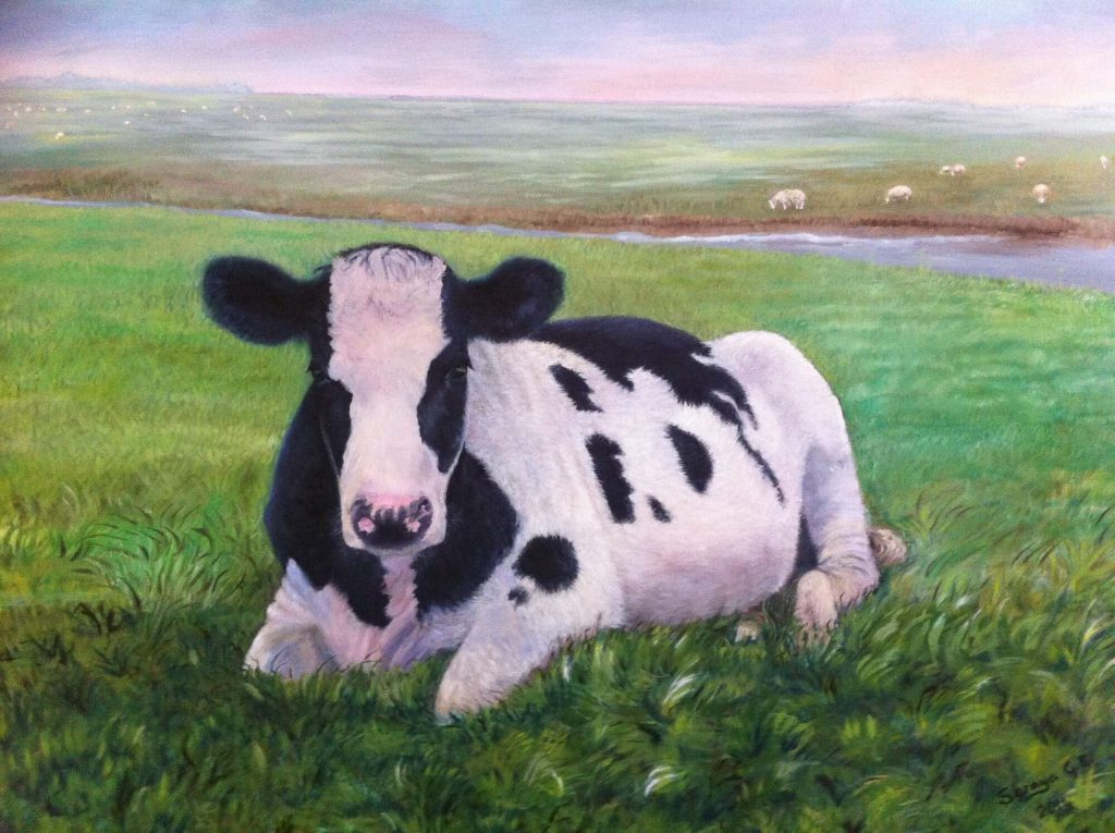 Painting of Dutch Cow, oil on canvas