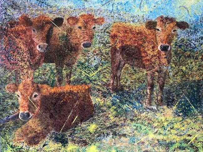 Oil painting showing three calves in a style blending abstract with classical.